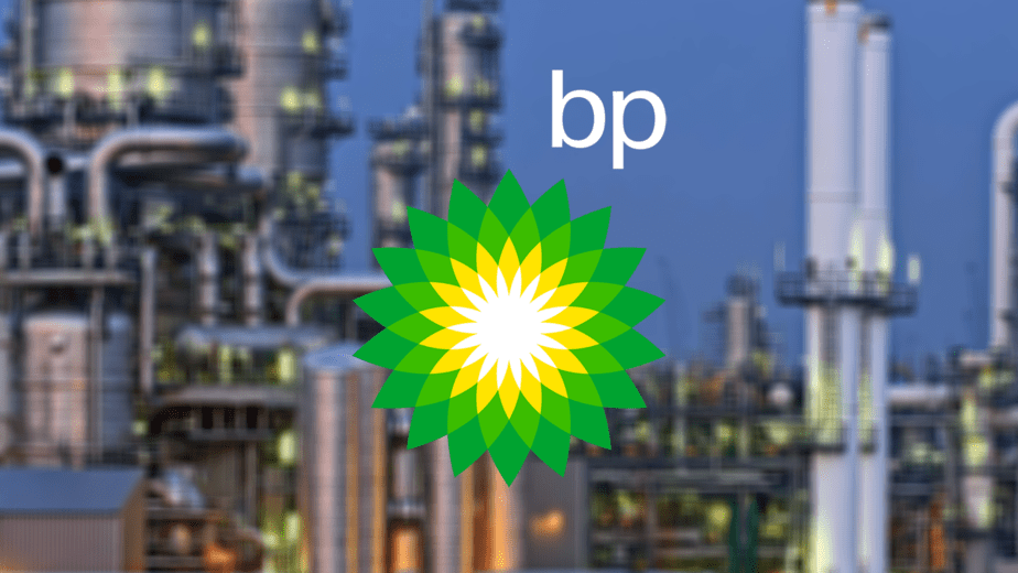 BP Petroleum White Logo with Chemical plant background