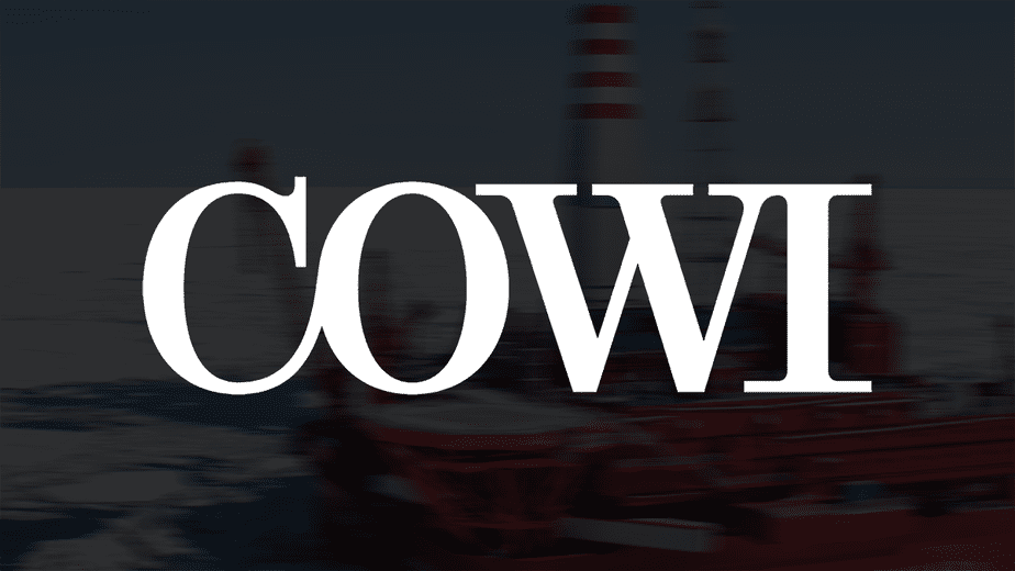 Cowi White Logo with Russian Prirazlomnaya oil rig in the Pechora Sea