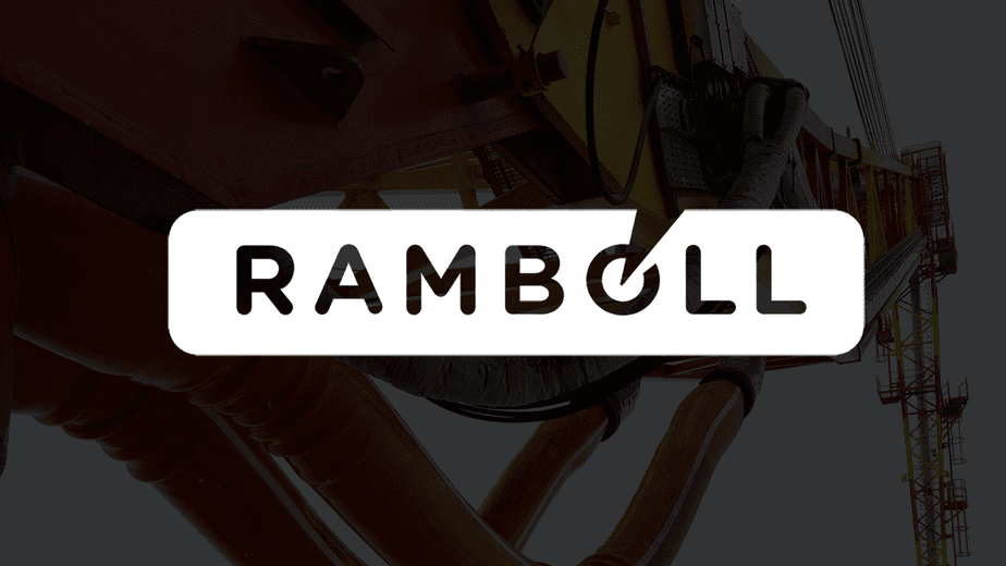 Ramboll White Logo with Prirazlomnoye oil platform background. Image by Krichevsky CC BY-SA 4.0