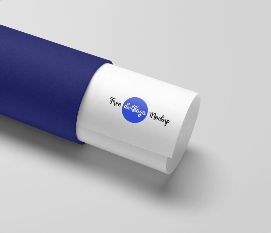Paper Tube Blue Logo Free Mockup